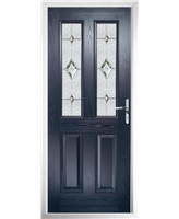 The Cardiff Composite Door in Blue with Crystal Diamond