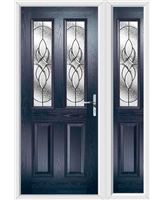 The Cardiff Composite Door in Blue with Zinc Art Elegance and matching Side Panel