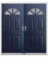 Carolina French Rockdoor in Sapphire Blue with Clear Glazing