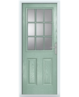 The Kettering Composite Door in Green (Chartwell) with Glazing