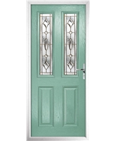 The Cardiff Composite Door in Green (Chartwell) with Brass Art Clarity