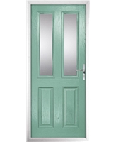 The Cardiff Composite Door in Green (Chartwell) with Clear Glazing
