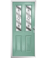 The Cardiff Composite Door in Green (Chartwell) with Crystal Bohemia