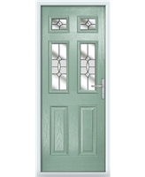 The Oxford Composite Door in Green (Chartwell) with Clear Crystal Bohemia