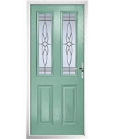 The Cardiff Composite Door in Green (Chartwell) with Crystal Harmony Frost