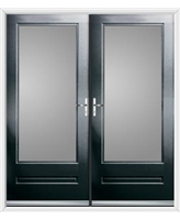 Classic French Rockdoor in Onyx Black with Clear Glazing