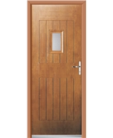 Ultimate Cottage Spy Rockdoor in Light Oak with Clear Glazing