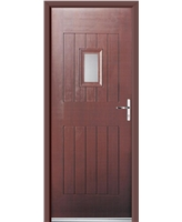 Ultimate Cottage Spy Rockdoor in Rosewood with Clear Glazing