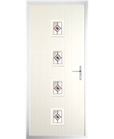 The Uttoxeter Composite Door in Cream with Red Fusion Ellipse