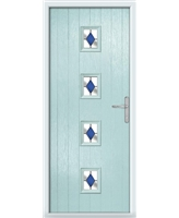 The Uttoxeter Composite Door in Blue (Duck Egg) with Blue Diamonds