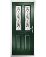 The Cardiff Composite Door in Green with Brass Art Clarity