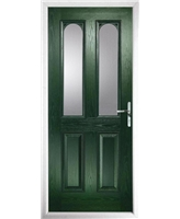 The Aberdeen Composite Door in Green with Clear Glazing