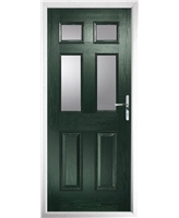 The Oxford Composite Door in Green with Clear Glazing