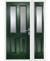 The Cardiff Composite Door in Green with Clear Glazing and matching Side Panel