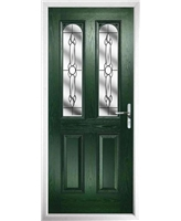 The Aberdeen Composite Door in Green with Crystal Bohemia