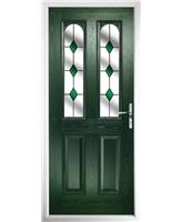 The Aberdeen Composite Door in Green with Green Diamonds