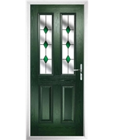 The Cardiff Composite Door in Green with Green Diamonds