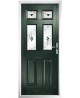 The Oxford Composite Door in Green with Green Murano