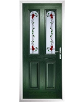 The Aberdeen Composite Door in Green with Mackintosh Rose