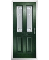 The Cardiff Composite Door in Green with Milan Glazing