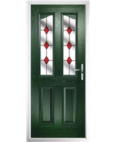 The Birmingham Composite Door in Green with Red Diamonds