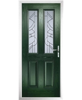 The Cardiff Composite Door in Green with Zinc Art Abstract