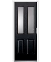 Ultimate Jacobean Rockdoor in Onyx Black with Glazing