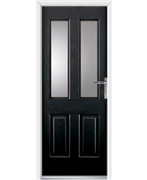 Jacobean Rockdoor in Onyx Black with Glazing