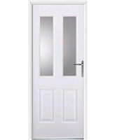 Jacobean Rockdoor in White with Clear Glazing