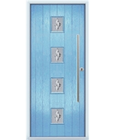 The Leicester Composite Door in Blue (Duck Egg) with Luxury Crystal