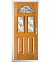 The Glasgow Composite Door in Oak with Brass Art Clarity