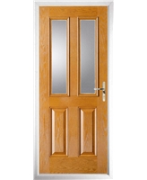 The Cardiff Composite Door in Oak with Clear Glazing