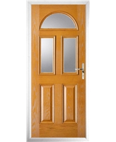 The Glasgow Composite Door in Oak with Clear Glazing