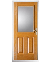 The Farnborough Composite Door in Oak with Clear Glazing
