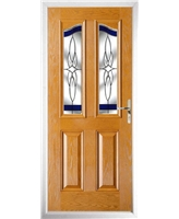 The Birmingham Composite Door in Oak with Blue Crystal Harmony