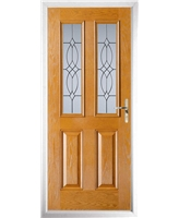 The Cardiff Composite Door in Oak with Flair Glazing