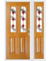 The Aberdeen Composite Door in Oak with Red Diamonds and matching Side Panel