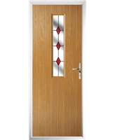 The Sheffield Composite Door in Oak with Red Diamonds