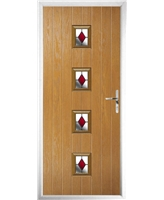 The Uttoxeter Composite Door in Oak with Red Diamonds