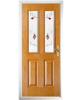 The Cardiff Composite Door in Oak with Red Murano