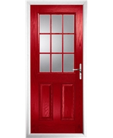 The Kettering Composite Door in Red with Clear Glazing