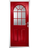 The Leeds Composite Door in Red with Clear Glazing