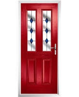 The Cardiff Composite Door in Red with Blue Diamonds