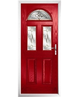 The Glasgow Composite Door in Red with Brass Art Clarity