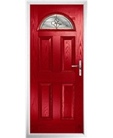 The Derby Composite Door in Red with Brass Art Clarity