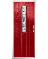 The Sheffield Composite Door in Red with Brass Art Clarity