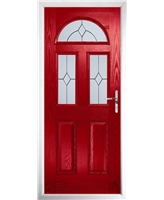 The Glasgow Composite Door in Red with Classic Glazing