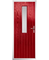 The Sheffield Composite Door in Red with Clear Glazing