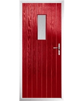 The Taunton Composite Door in Red with Clear Glazing