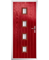 The Uttoxeter Composite Door in Red with Clear Glazing